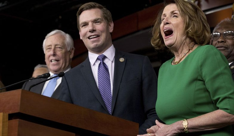 """Rep. Swalwell: """"Rifles. They're more powerful and cause more carnage when used with a pistol-grip."""""""