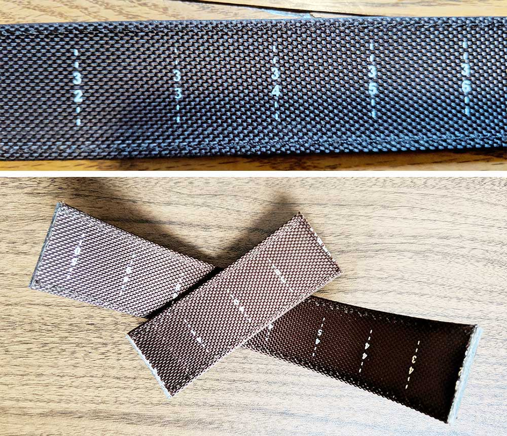 strips of the belt with measurement markings