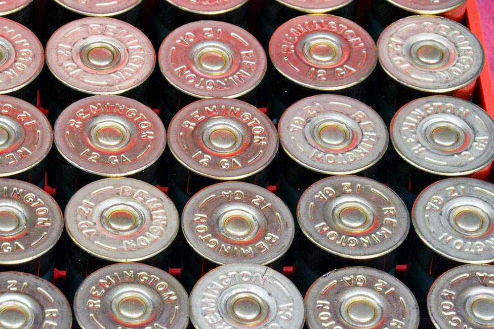 a collection of loaded shotshell ammo