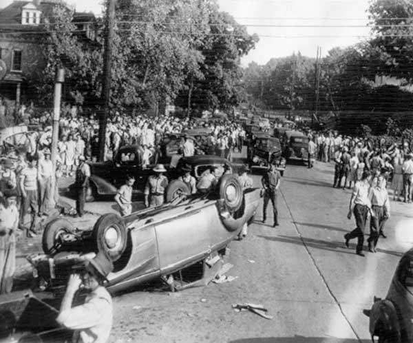 overturned cars after the battle of athens