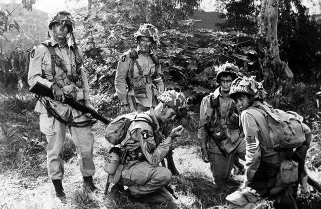 black and white movie still from screaming eagles