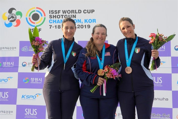 Kim Rhode celebrating a win at ISSF world cup tournament