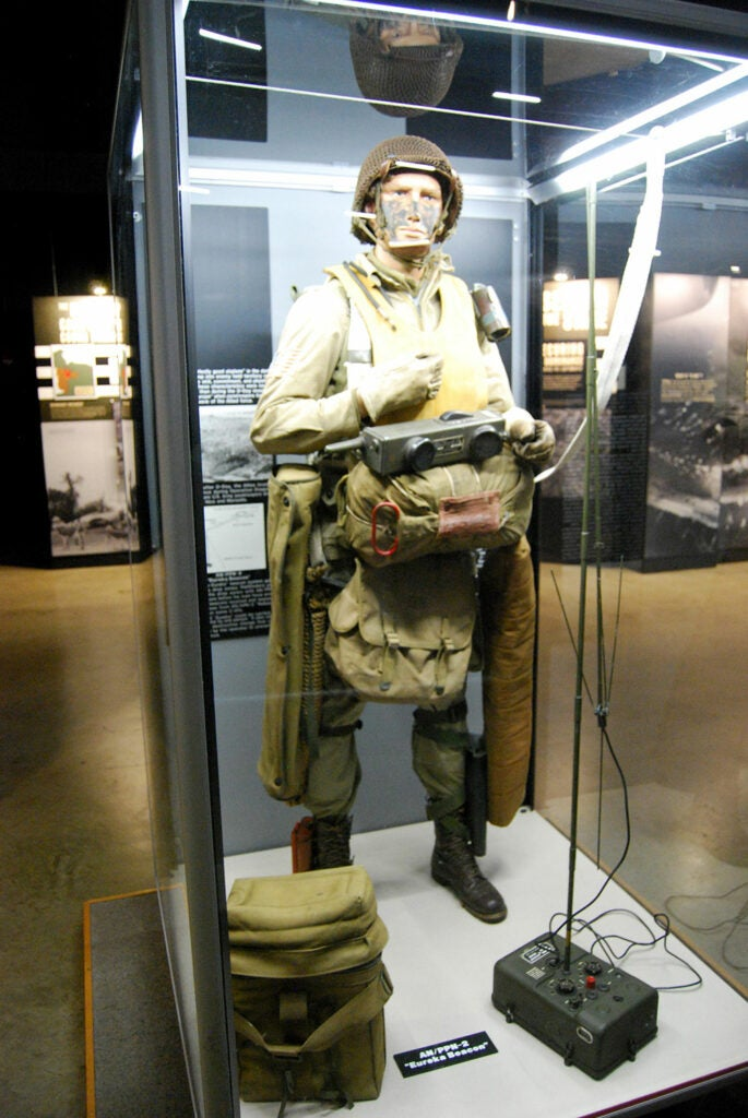 a d-day trooper and equipment at the usaf museum