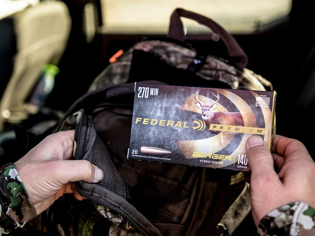 pulling federal premium ammo out of a backpack