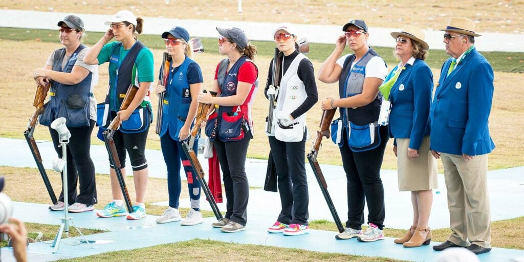 kim rhode and a lineup of women shooters