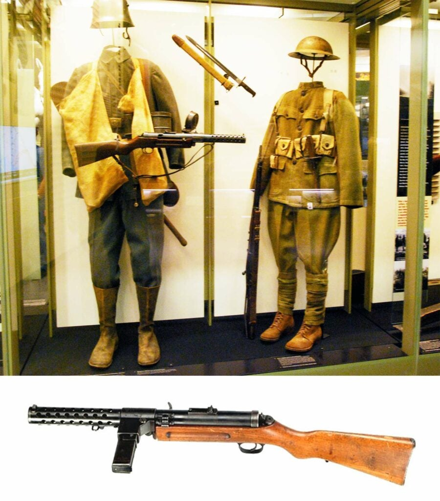 MP18 submachine gun with a full combat uniform on display