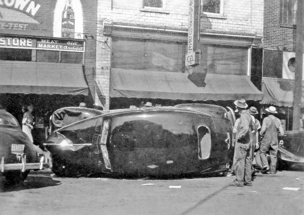 overturned car in the battle of athens aftermath