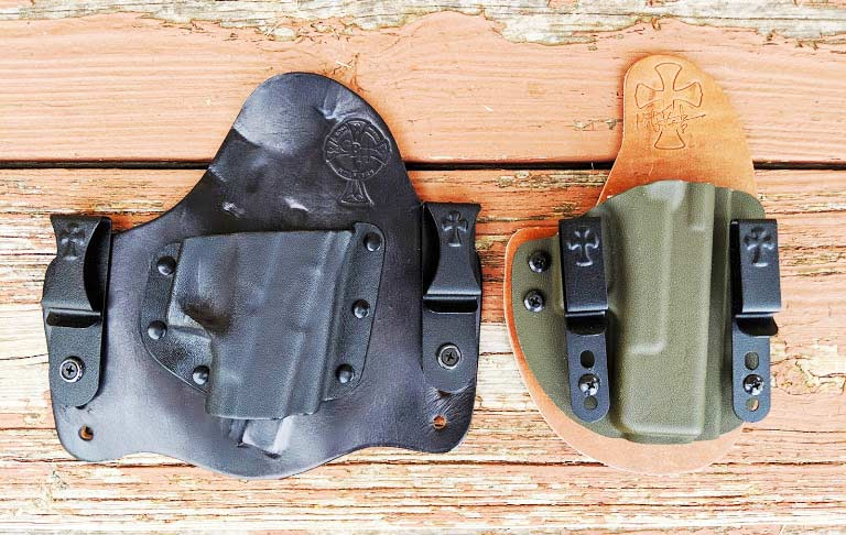 crossbreed hybrid holsters on a wooden table