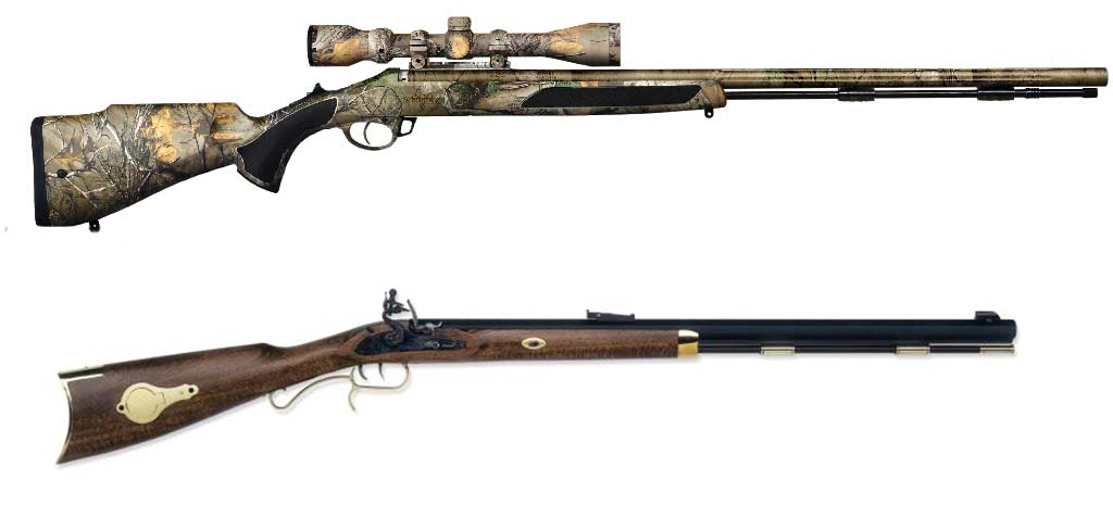 two muzzleloader rifles
