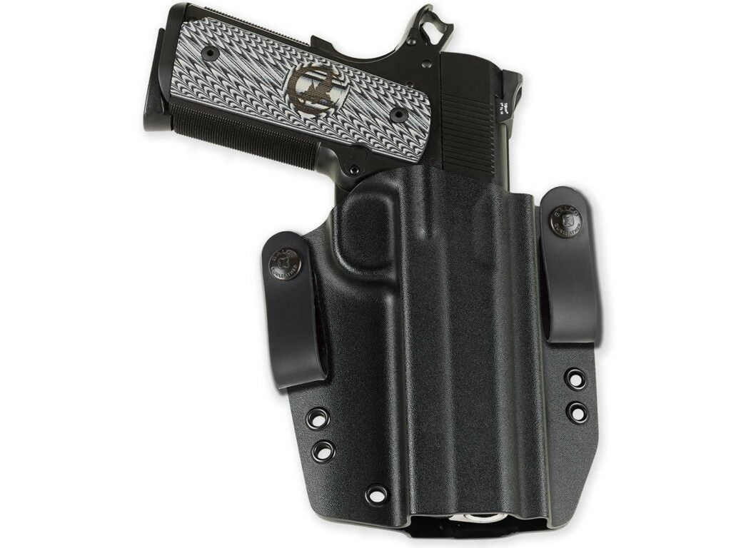 handgun in a kydex gun holster made from thermoplastic