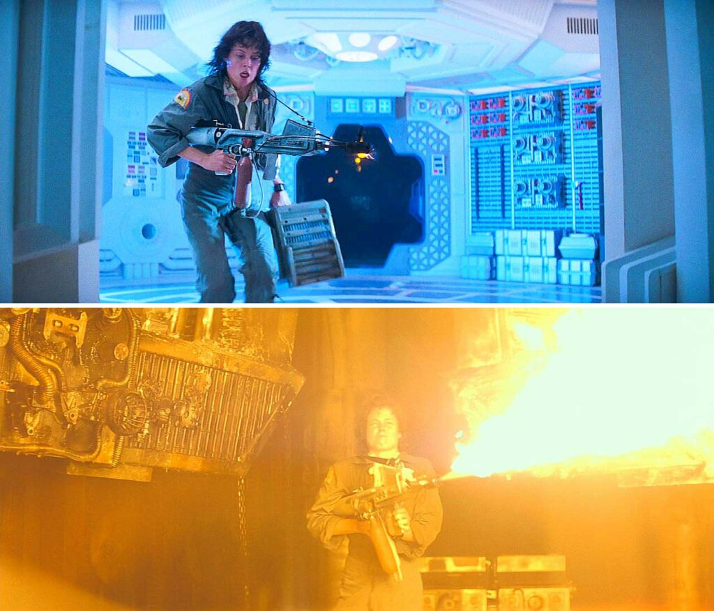 sigourney weaver using a flamethrower in aliens