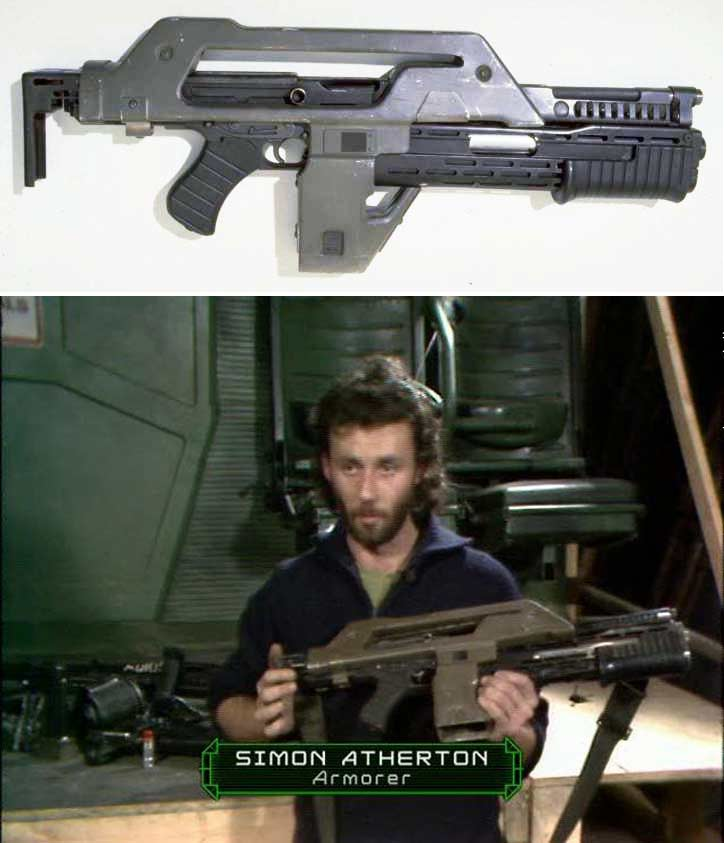 simon atherton armorer holding pulse rifle from aliens