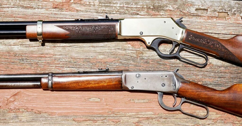 henry side gate rifle  and winchester rifle