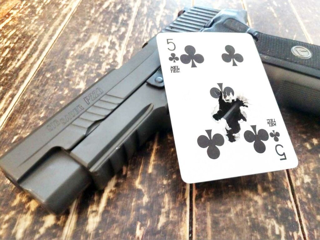 sig p226 legion playing card as target practice