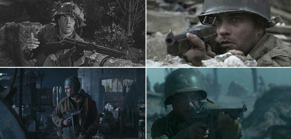 collage of military movies with tommy guns