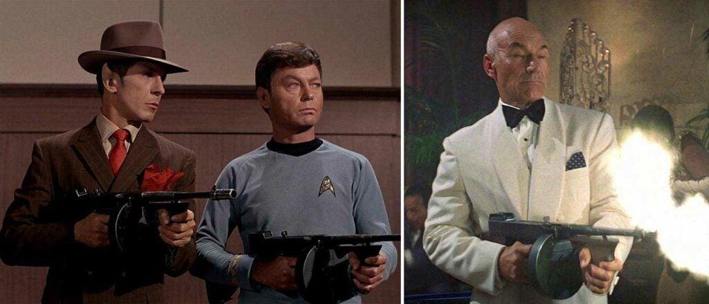 image stills frm the star trek series featuring characters holding tommy guns