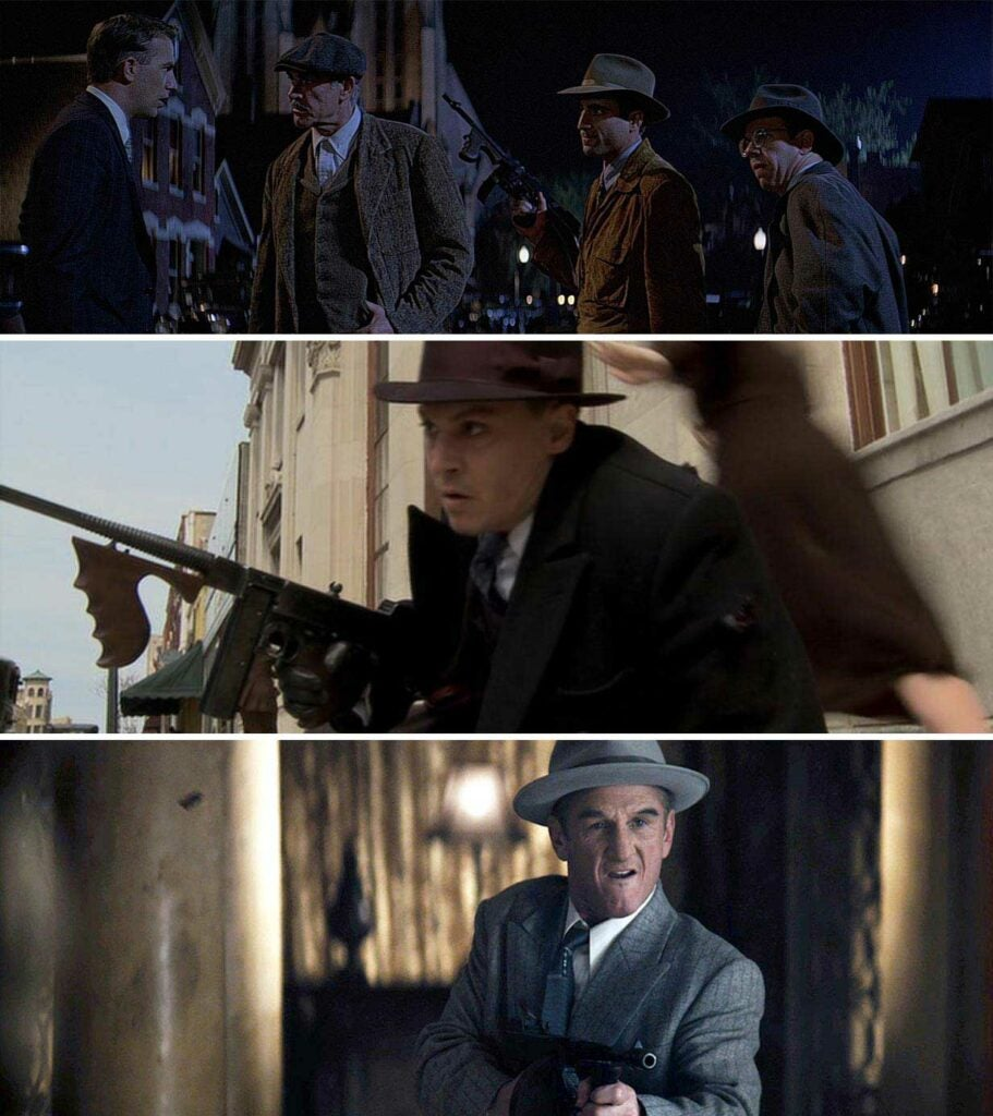 various actors and tommy guns in films
