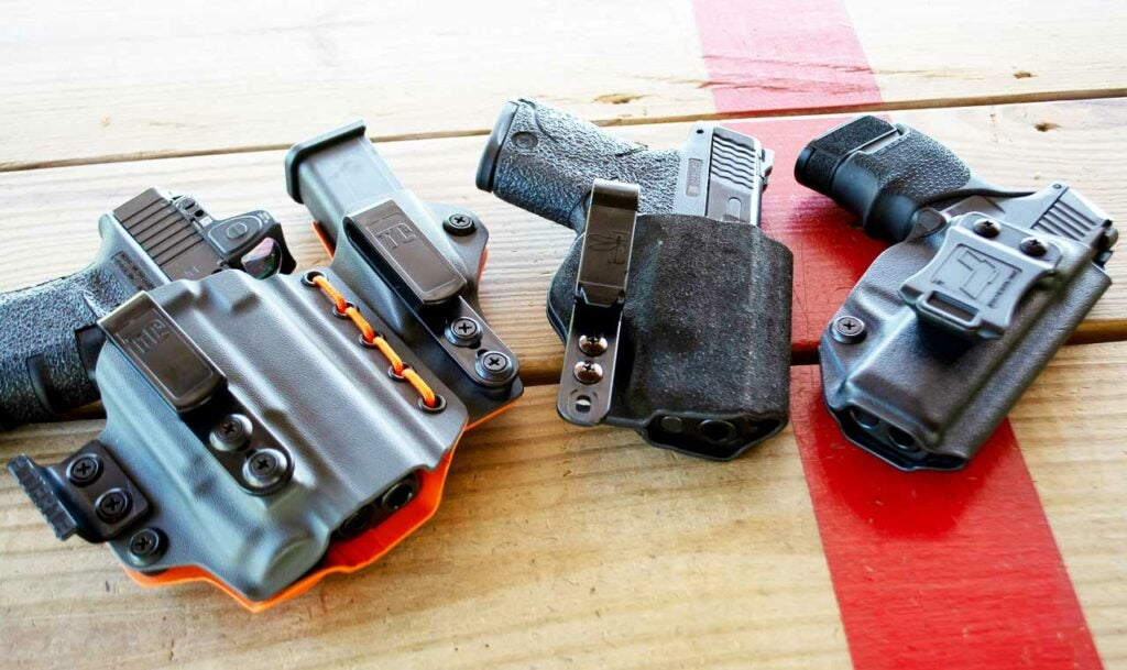 three different appendix carry concealed carry holsters