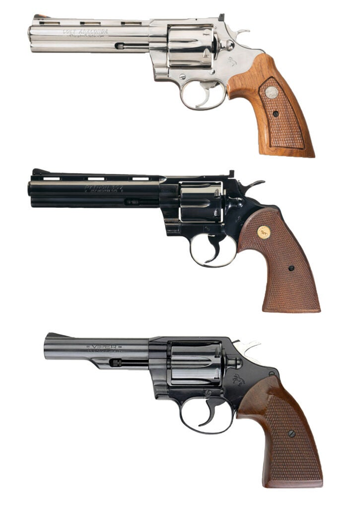 three colt handguns