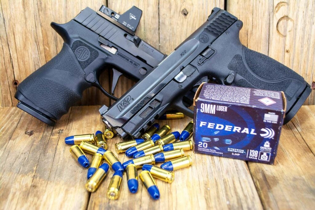 Sig Sauer P320 XCompact and a Smith and Wesson M&P 2.0 with syntech ammo