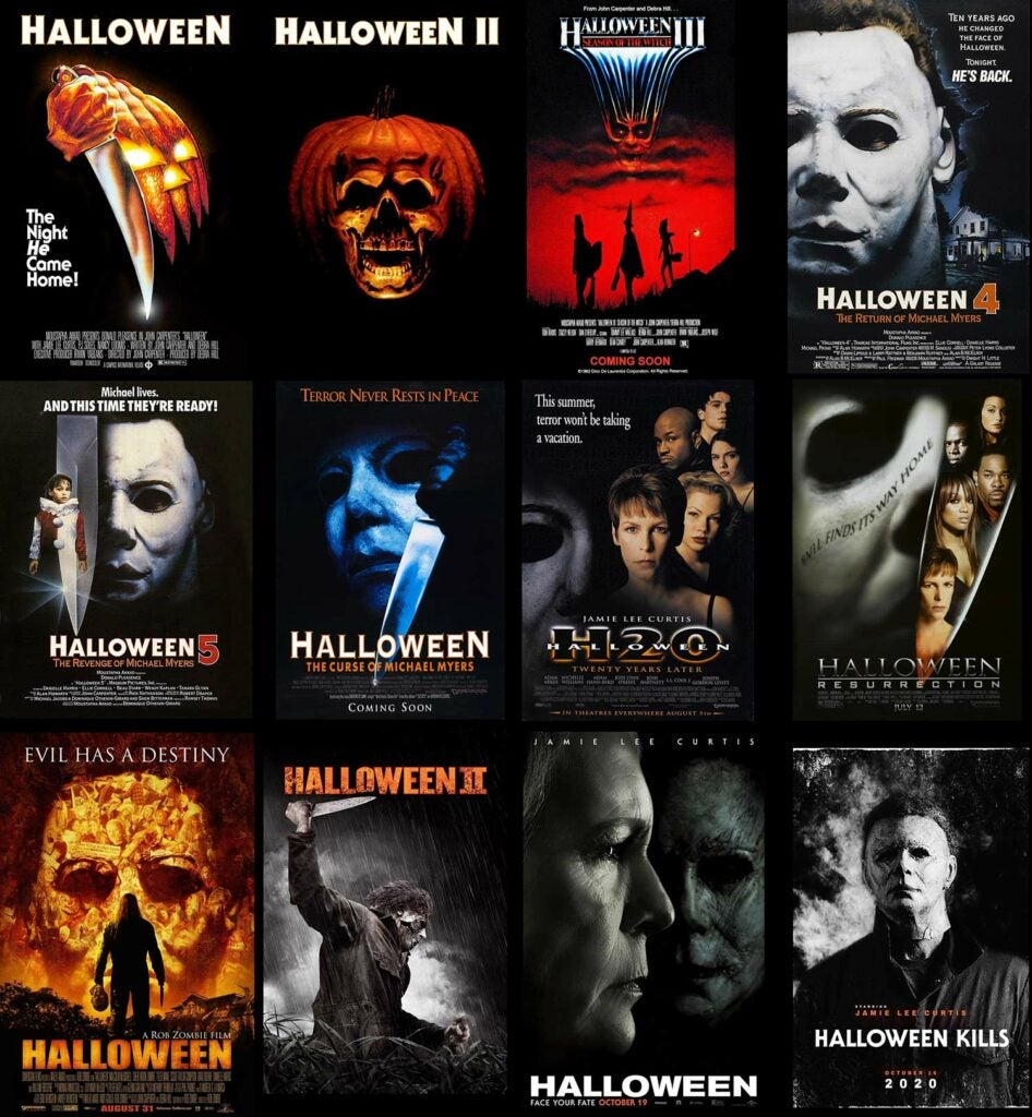 collage of the halloween movie posters