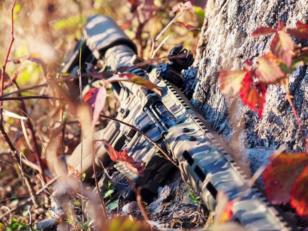 a tiger-striped custom-painted cerakote rifle