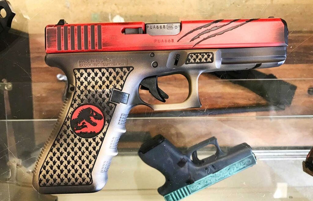 The right side of the Jurassic Park Glock