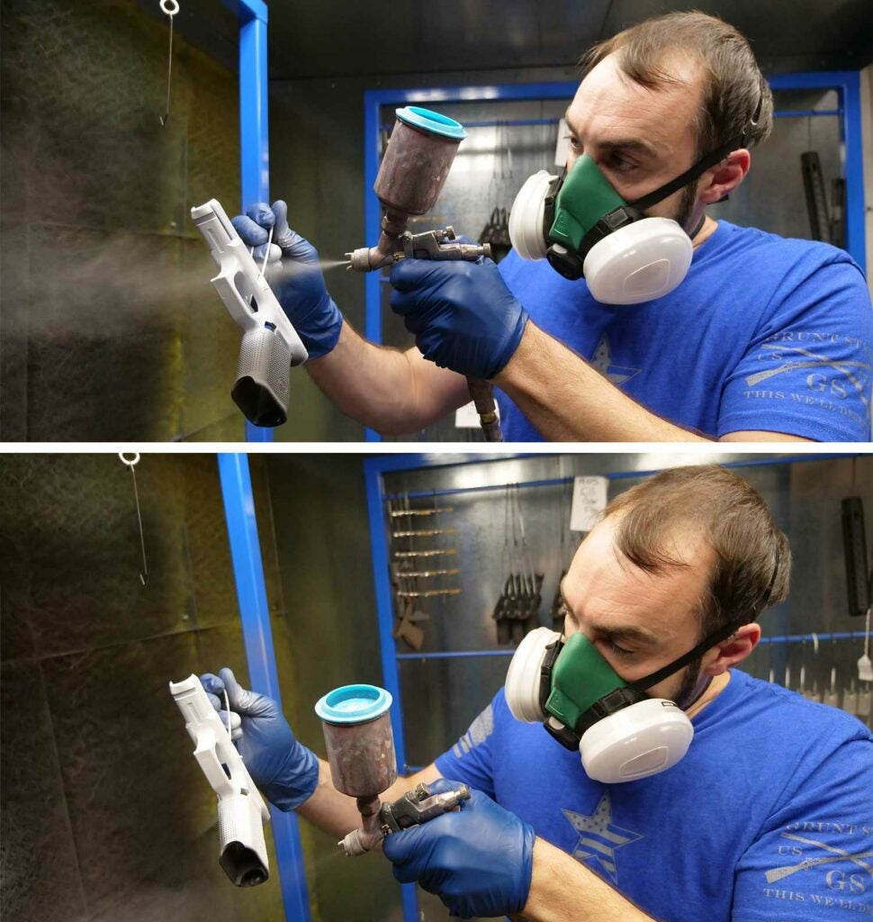 Nick Kesselring airbrushing in his Cerakote shop.