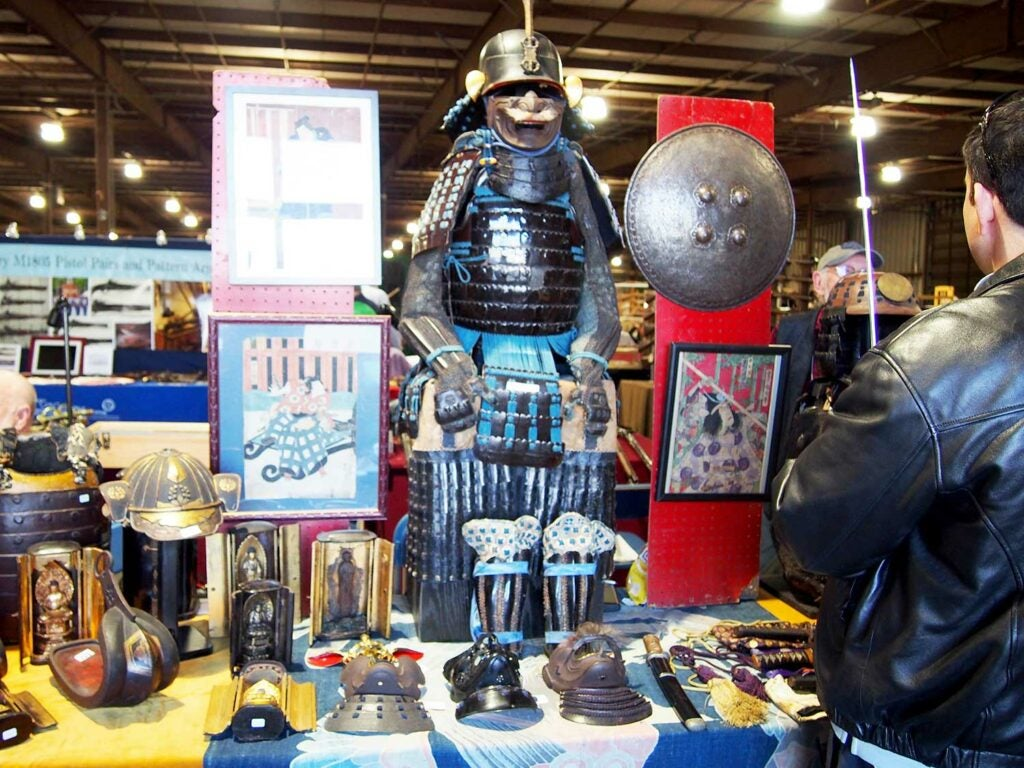 a suit of armor at the baltimore antique arms show