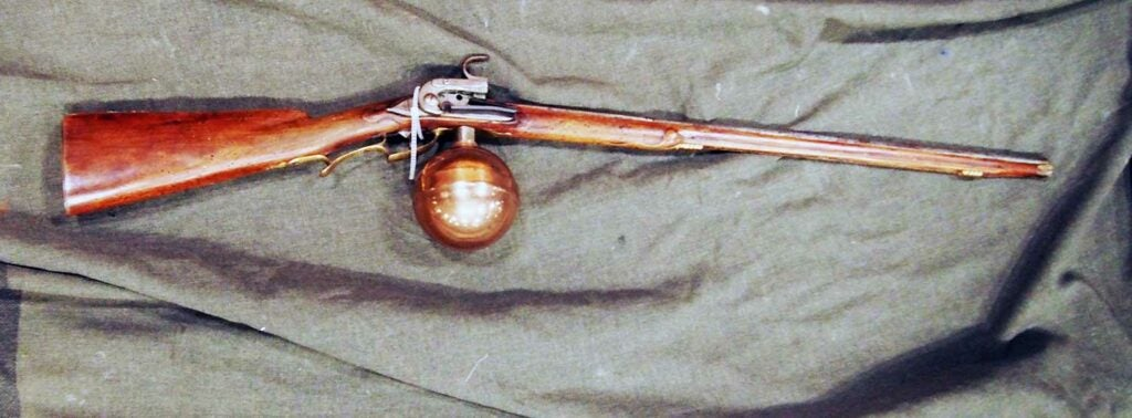 19th century air rifle on display at Las vegas antique arms show