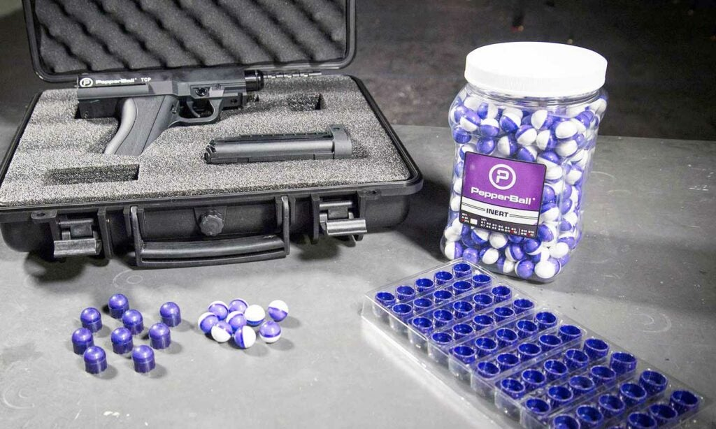 PepperBall ammo and case