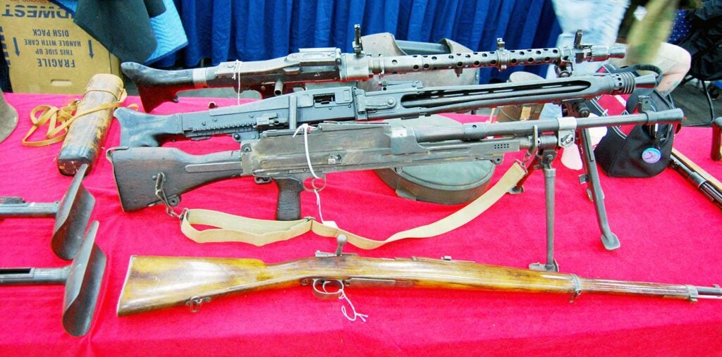 machine guns on display at the Show of Shows