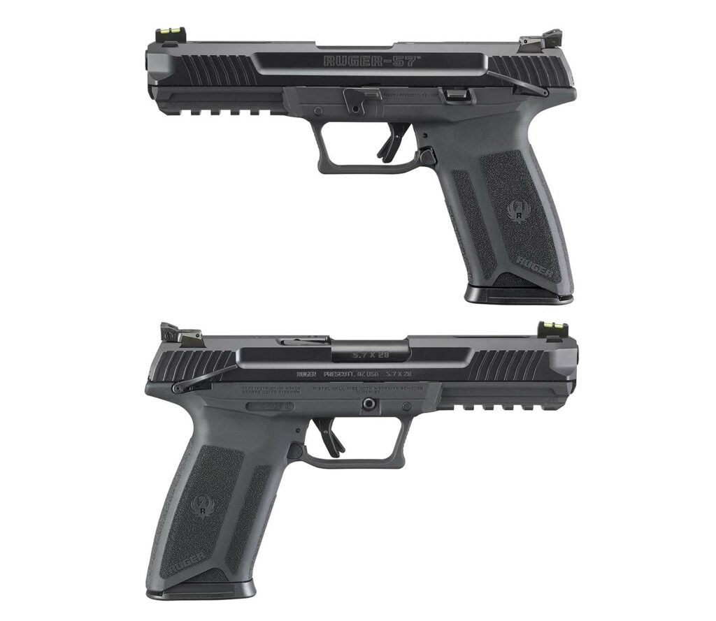 The Ruger-57 includes a fully adjustable rear sight and a riber optic front sight.