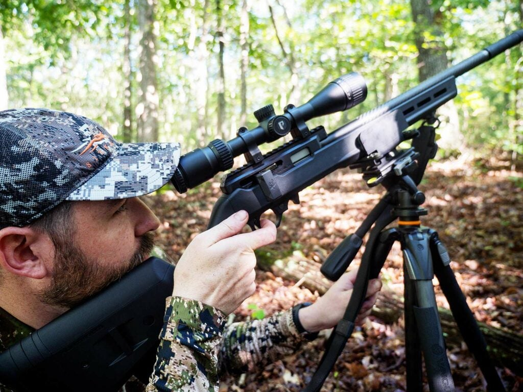 Michael R. Shea hunting squirrels with a bipod and Volquartsen rifle.