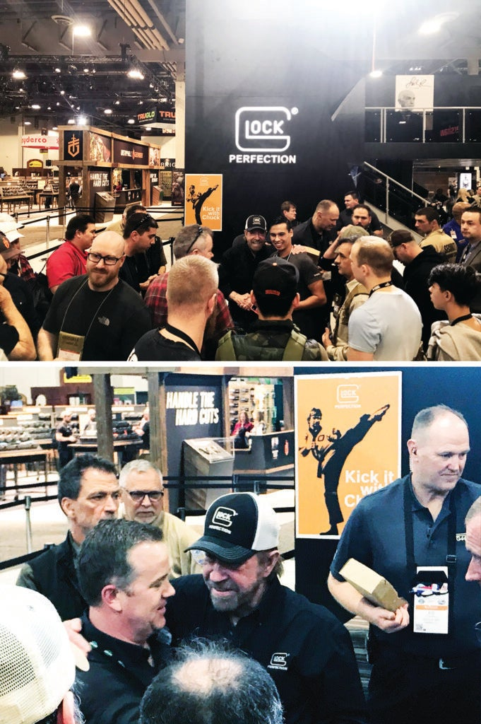 Chuck Norris, now the spokesman for Glock, gets a bit mobbed at SHOT Show 2020.