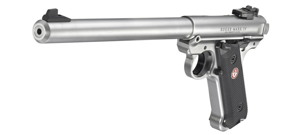 Another look at the Ruger Mark IV Long Barrel with a satin stainless finish.