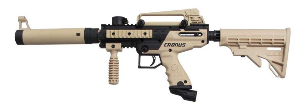 The Tippmann Cronus paintball marker was used as a base for the Envoy Blaster.