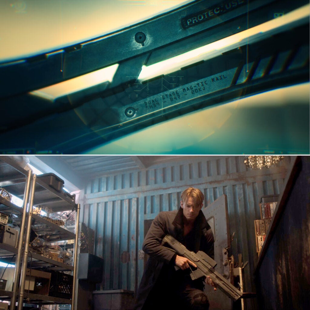 (Top) the Magnetic Rifle as seen in E2 held by Vernon in the video threat to Bancroft. Kovacs zooms in on the gun and finds the serial number.