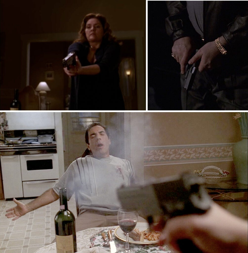 Janice shoots Richie with a SIG P226 in a fit of rage after he hits her, right before they were to be married. (top right) Tony checks his own Glock 19 before going into the house when Janice calls him to come over, indicating the state of their relationship at the time.