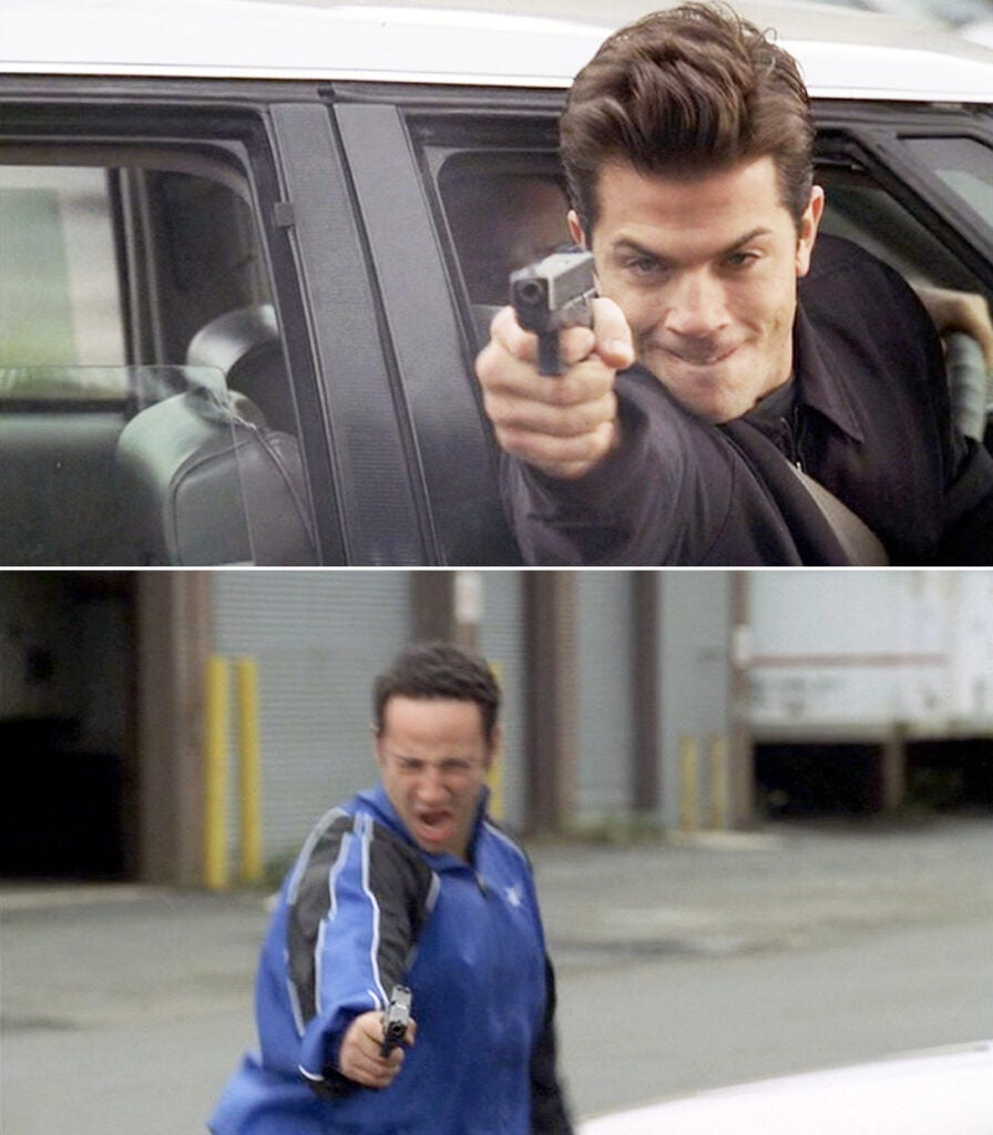 Sean (top) and Matthew open fire on Christopher as he exits a diner.