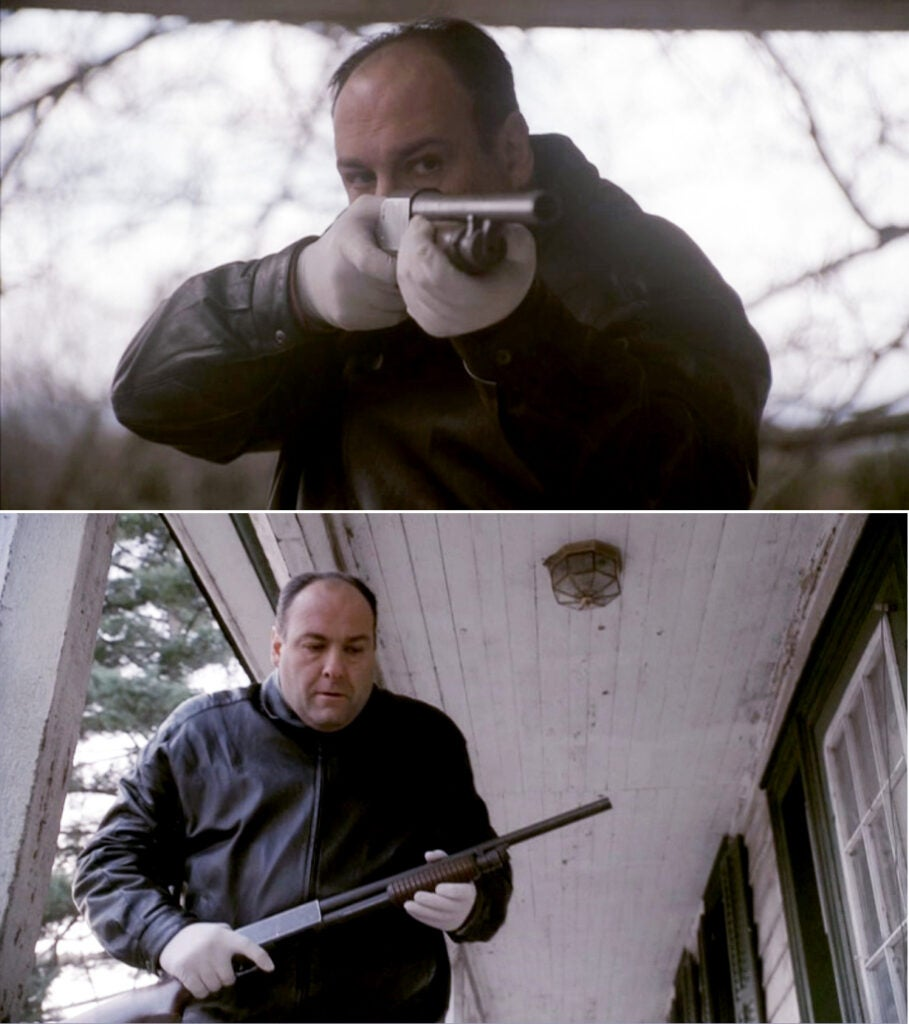 Tony uses an Ithaca 37 pump action shotgun to kill his cousin Tony B on the porch of Uncle Pat's farm.