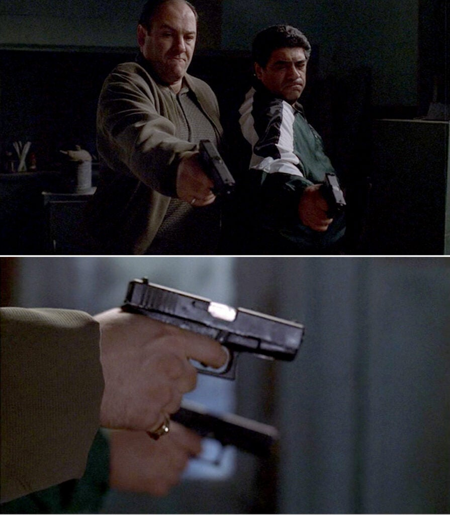 Tony and Puss use two Glock 19 pistols to execute Matthew Bevilaqua after he tried and failed to kill Christopher.