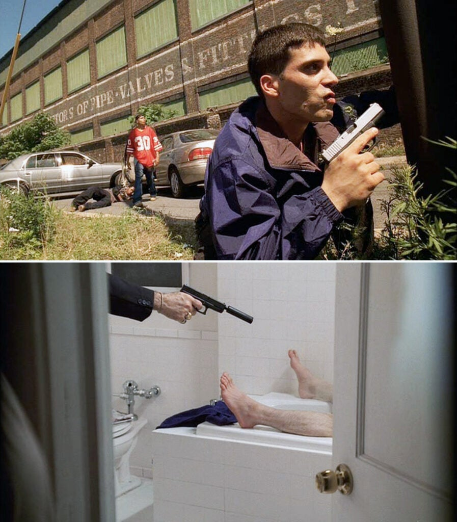 (top) Brendan Filone prepares for the disastrous truck hijacking with a two-toned Glock 19. (bottom) Mikey Palmice shooting Brendan in his tub with a suppressed Glock 19.