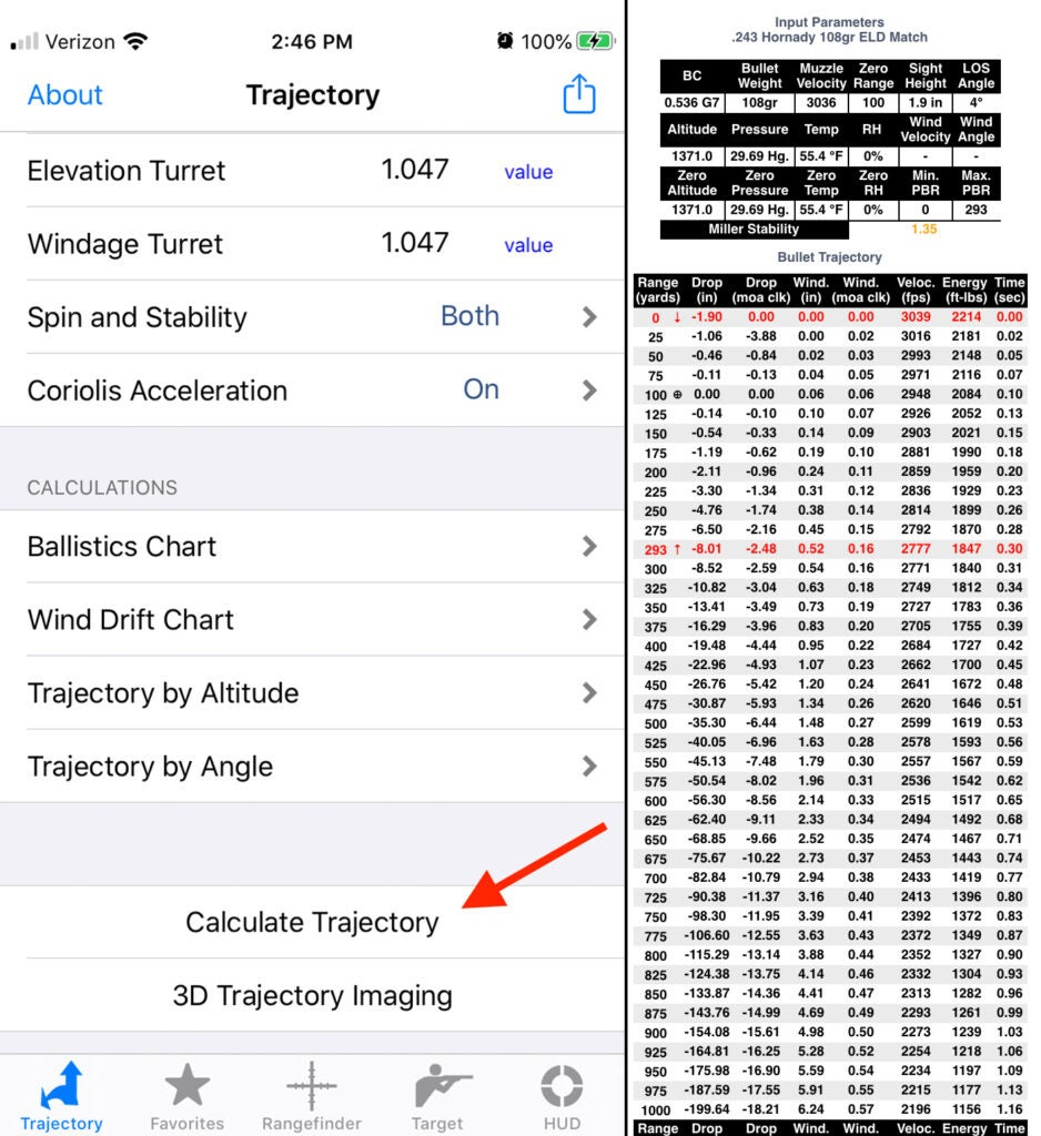 "Select ""Calculate Trajectory"" to get your come-ups."