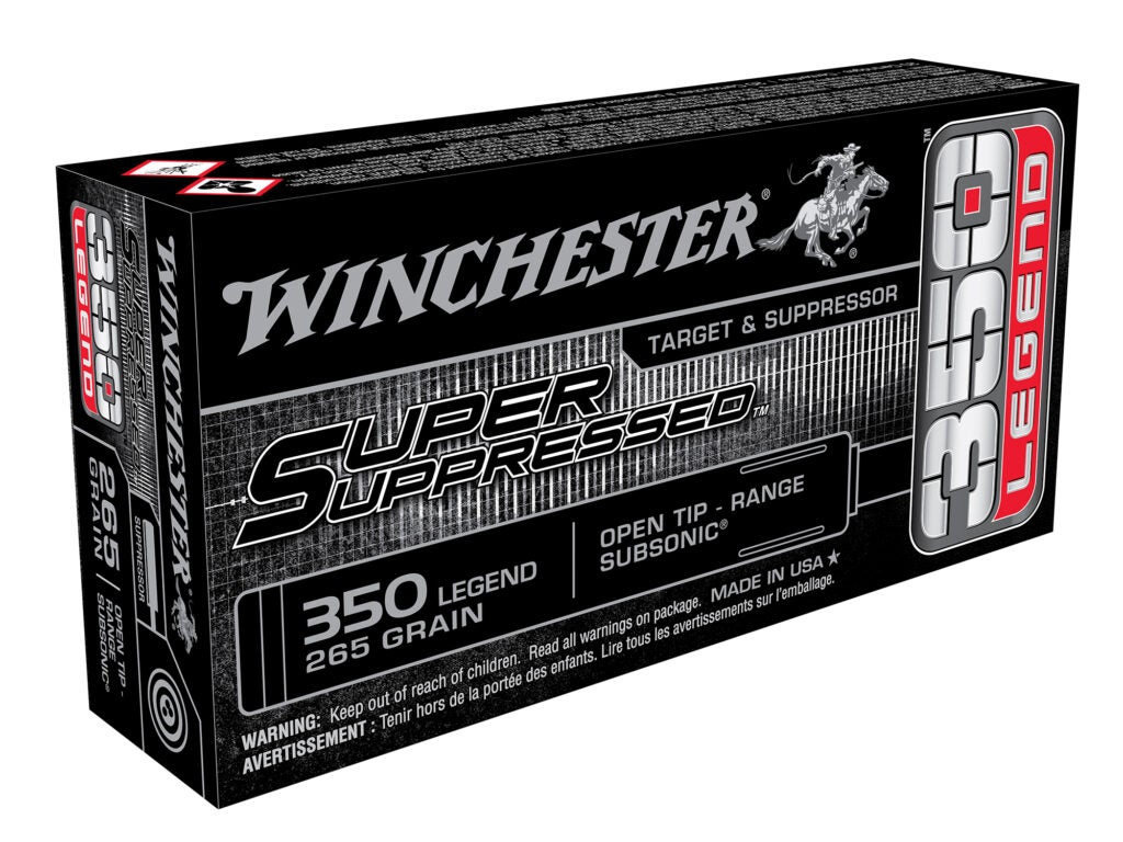 Winchester's new Super Suppressed subsonic .350 Legend loads.