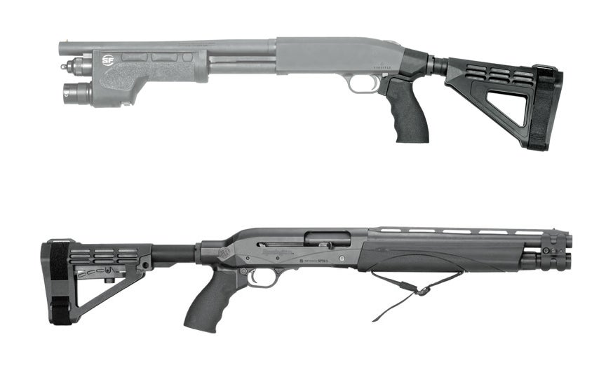 SB Tactical makes stabilizing braces for the Mossberg 590 Shockwave (top), the Remington TAC-14 (not pictured), and the Remington V3 TAC-13 (bottom).