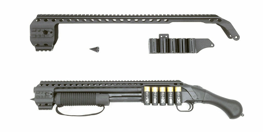 The Black Aces Tactical Quad-Rail and Shell Holder for the Mossberg 590 Shockwave.