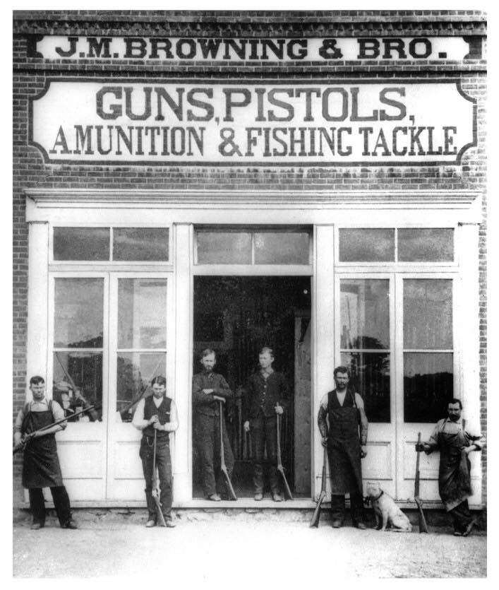 The Browning Brothers Gun Shop in Utah Territory (circa 1882). In the photo are (left to right): Thomas Samuel Browning, George Emmett Browning, John Moses Browning, Matthew Sandefur Browning, Jonathan Edmund Browning, and Frank Rushton.