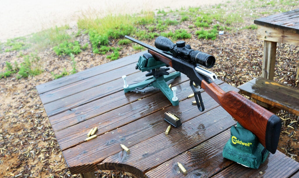 The Henry Long Ranger in 6.5 CM on the bench at the range in less than ideal weather.
