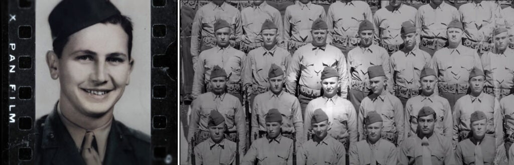 Eugene Stoner as a young man serving in the U.S. Marine Corps during WWII. In the right photo, he is holding an M1 Garand rifle.